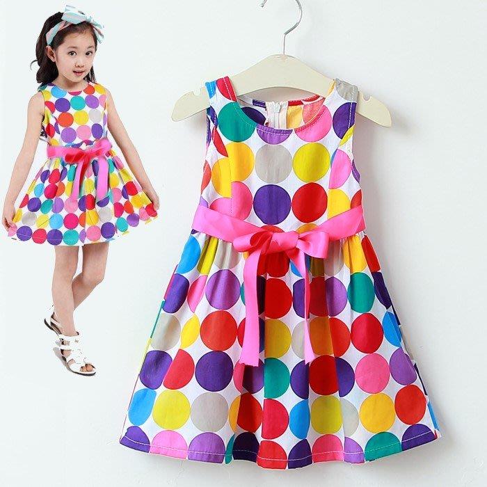 夏日《彩色圓點點》甜美小洋裝