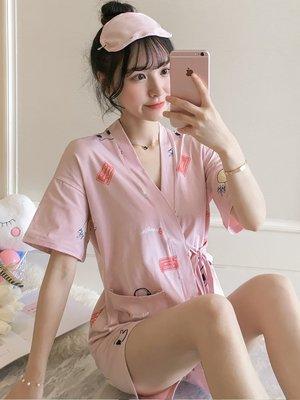 睡衣女夏純棉夏季清新學生可愛短袖和服日式韓版可外穿家居服套裝睡衣 睡袍 睡裙