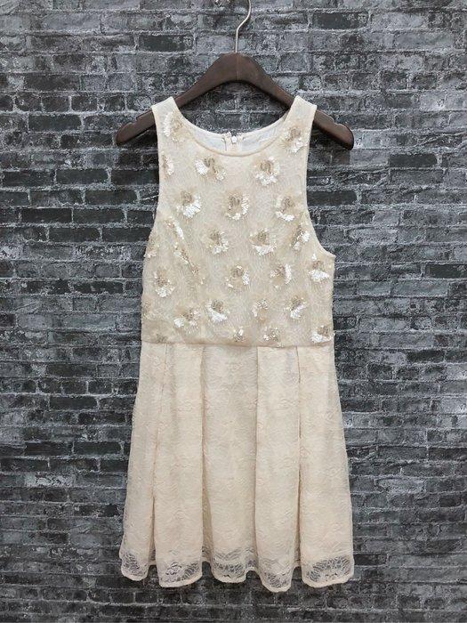 Maple麋鹿小舖 Abercrombie&Fitch * AF 米黃色無袖亮片蕾絲珠珠洋裝*( 現貨S號 )