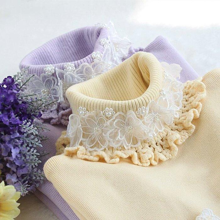 粉紅玫瑰精品屋~秋冬新款針織高彈力修身高領蕾絲套頭打底衫~