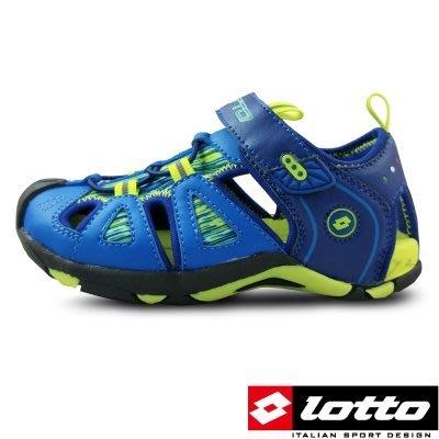 便宜運動器材 LOTTO LT6AKS3196 義大利 男中童 護趾運動涼鞋 (藍)彈性避震中底材質,提供良好的穩定性