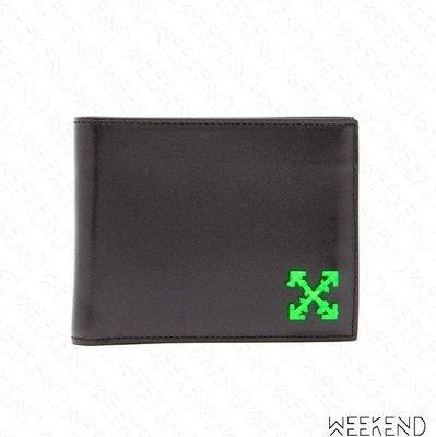 【WEEKEND】 OFF WHITE Logo Cross Arrow 箭頭 皮夾 短夾 零錢包 黑色 19秋冬
