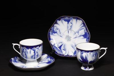 2/28結標 日本皇室骨瓷 深川 蘭花咖啡杯 二客 0200616 ─室內裝飾 下午茶 西餐廳 咖啡廳 日式 和式