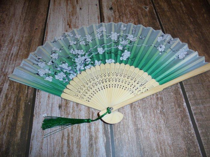 漂亮 竹製 (綠)日式風格 摺疊扇子 夏季手扇