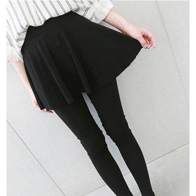 【Hao Da】全館399免運↘「S~XL。現貨」甜美 彈力棉假兩件大圓裙內搭褲 (P1107)