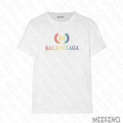 【WEEKEND】 BALENCIAGA BB 巴黎世家 彩色 刺繡 短袖 上衣 T恤 白色 19春夏