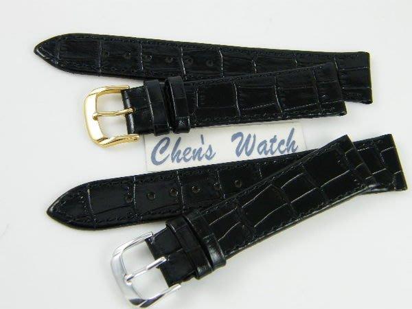 【錶帶家】『品質嚴選』LIMA 義大利進口牛皮錶帶壓鱷魚皮紋真皮錶帶黑色亮皮 13mm