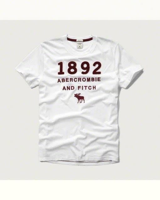 Maple麋鹿小舖 Abercrombie&Fitch*AF 白色貼布電繡麋鹿短T * ( 現貨XL/XXL號 )