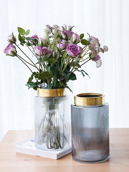 #創意 裝飾品 居家銅圈北歐風格玻璃花瓶 家居客廳餐桌裝飾擺件干花插花瓶簡約飾品