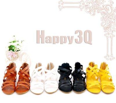交叉綁帶拉鍊露趾羅馬平底涼鞋-黑/白/黃/棕34-43【AAA0201】 預購