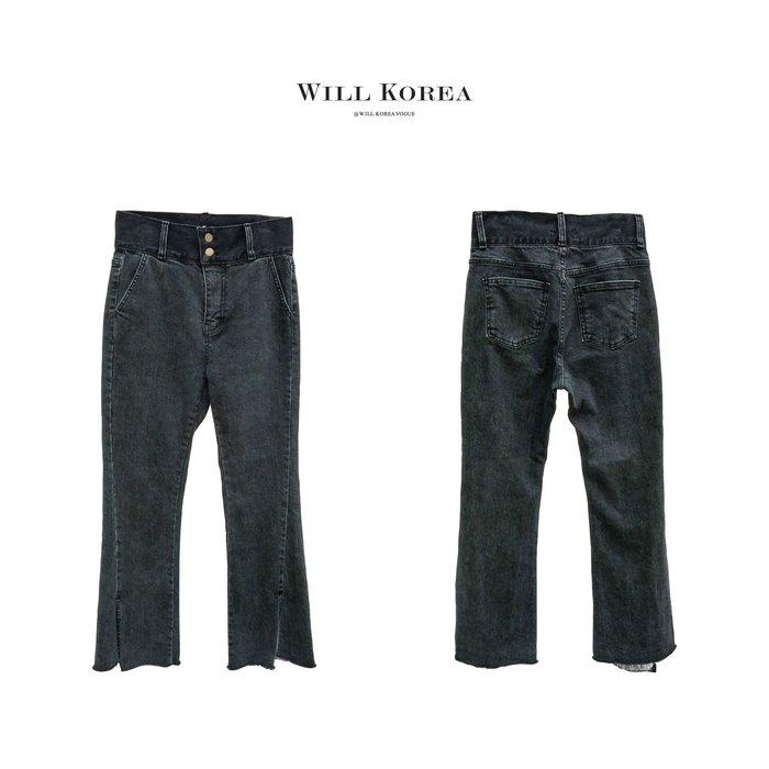 【 WILL韓 】排扣高腰開岔牛仔長褲