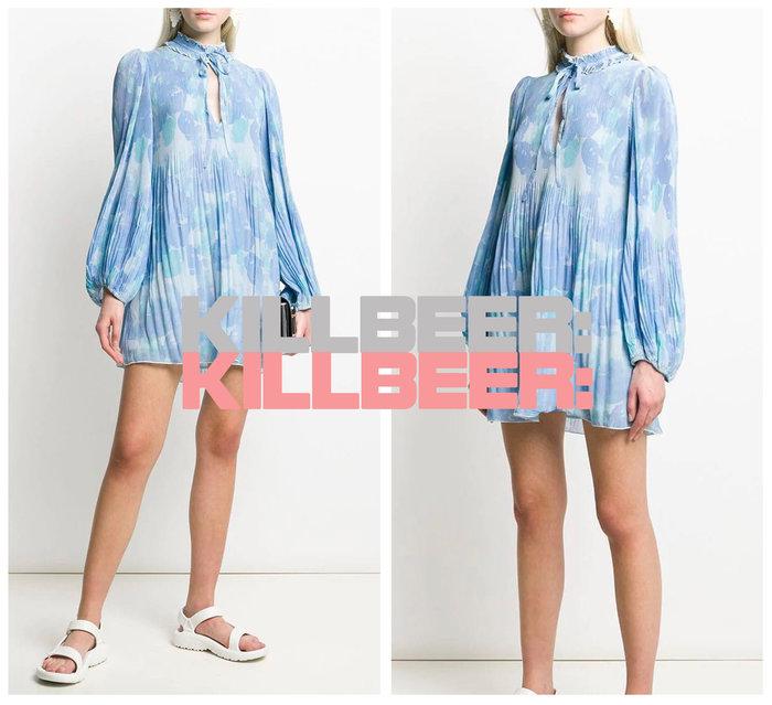 KillBeer:漂丿的都市名媛之 歐美復古巴黎設計師款靛藍迷幻渲染感印花荷葉綁帶垂墜感雪紡連身裙洋裝A072908
