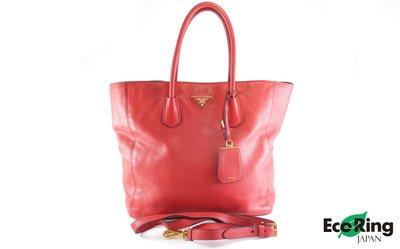 [Eco Ring HK]*Prada 2 Way Tote Bag/Red/Leather/158*Rank B-207002574-