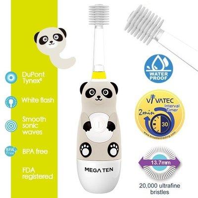 【頂級款】日本 VIVATEC Mega Ten 360度 幼童電動牙刷-貓熊