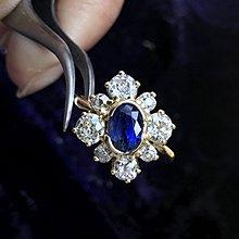 【英国欧洲古董珠宝】维多利亞victorian old mine cut 18K金3.55克拉 天然钻石蓝宝石戒指