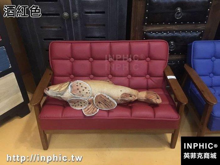 INPHIC-復古木質兒童雙人小沙發皮革凳子兒童房家俱收納凳幼兒攝影道具-酒紅色_S2787C