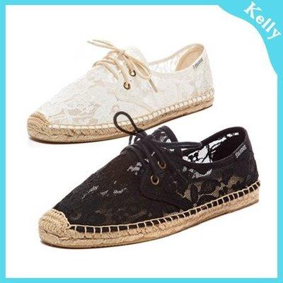 Kelly代購* Soludos 【黑白蕾絲綁帶】休閒草編帆布鞋