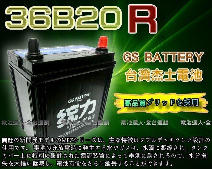 【鋐瑞電池】杰士 GS 統力 汽車電池 36B20R 消防幫浦 船釣 電動捲線器 ALTO 台塑2號 MATIZ 馬提斯