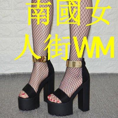 南國女人街WM2019春季新款歐美絨面粗跟防水臺高跟鞋百搭潮品一字帶露趾涼鞋女