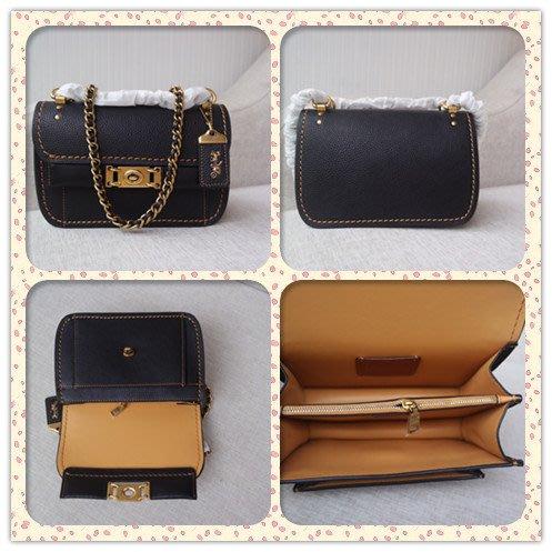 DanDan代購 美國正品 COACH 73560 新款女士Troupe鏈條包 經典復古款翻蓋式單肩斜挎包 附購證