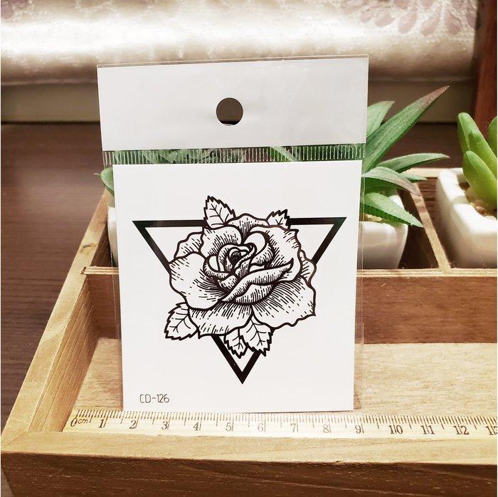 【萌古屋】】三角玫瑰 - 手背防水紋身貼紙刺青貼紙CD-126 K12