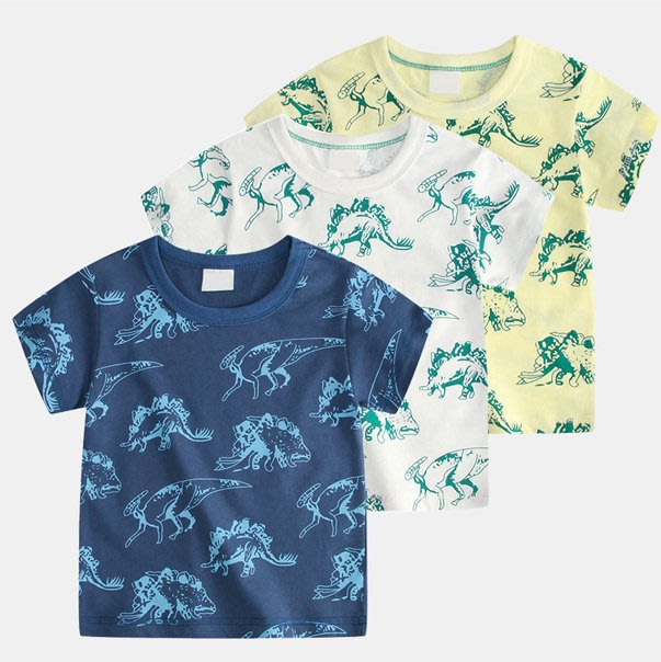 [C.M.平價精品館]90~130CM/恐龍滿印可愛舒適純棉短袖T恤   小童/中童