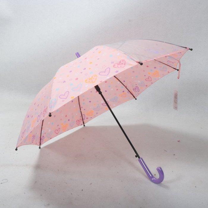 奇奇店-粉可愛卡哇伊手繪小愛心全纖維一片式透明女孩兒童雨傘#加固 #小清新 #晴雨兩用
