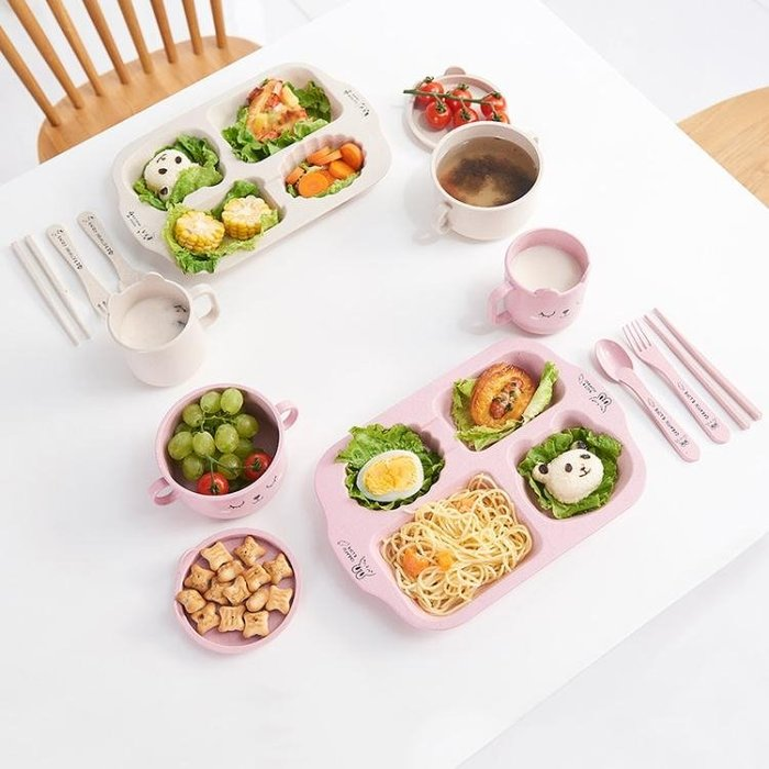 餐盤小麥秸稈兒童餐盤分格幼兒園餐盤可愛卡通寶寶防摔家用餐具套裝兒童聖誕狂歡好康八折