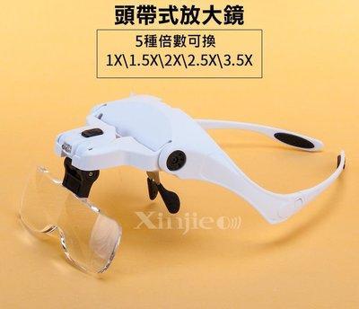 信捷【J33】新款升級版眼鏡式帶燈頭戴放大鏡 維修、鑑定、閱讀 多鏡片替換
