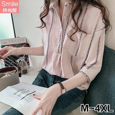 【V2663】SMILE-港風韓范.前口袋寬鬆顯瘦七分袖襯衫上衣