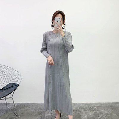長袖洋 裝 連身 長裙-紐扣裝飾修身開叉女裙子2色73yf33[獨家進口][米蘭精品]