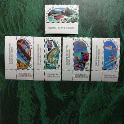 【大三元】紐澳郵票-045紐西蘭- 噴射快艇-新票5全邊角1套-原膠上品