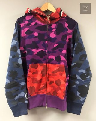 [FDOF]BAPE COLOR CAMO CRAZY SHARK FULL ZIP HOODIE乞丐拼接鯊魚外套 帽夾