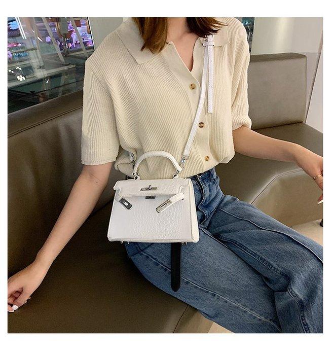 FINDSENSE X 韓國 女士 時尚鱷魚紋 凯莉鎖 多功能 斜挎包 百搭 側背包 單肩包 手提包