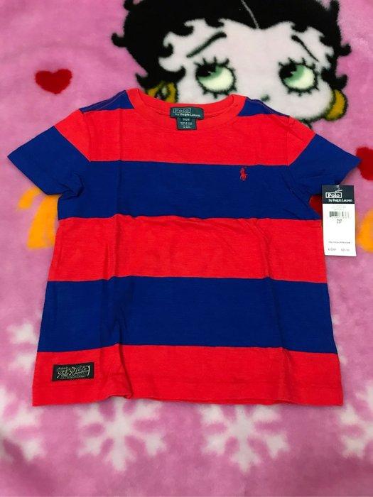 Ralph Lauren polo 藍紅相間條紋短袖上衣/2T