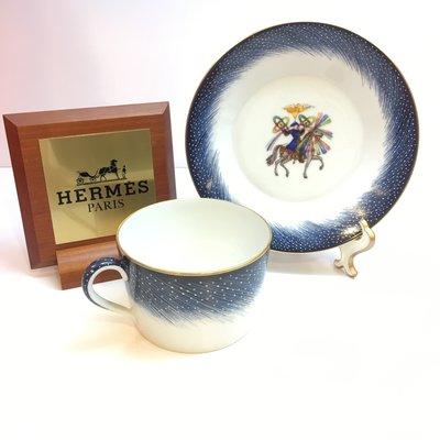 *金選名店*HERMES 愛馬仕 藍白 湯杯組 / 咖啡杯組 / 瓷器 (1杯1盤)