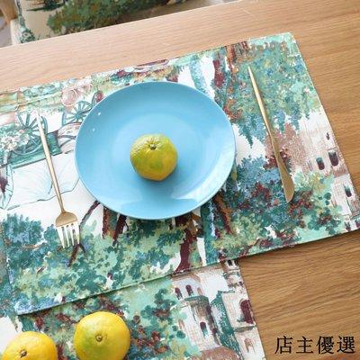 森系綠色植物原創設計棉麻餐墊隔熱墊茶杯墊餐桌墊盤墊碗墊茶墊