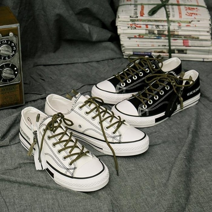 白色帆布鞋男韓版學生低筒板鞋復古拉錬青少年ins潮流百搭鞋子潮 『上新特惠』