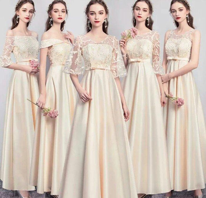歐美 伴娘服 長款 婚紗 禮服 綁帶 一字肩 緞面 婚禮 宴會 主持 表演 活動 顯瘦 多款 Me Gusta