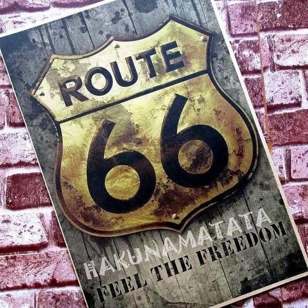 【貼貼屋】美國66號公路 U.S. Route 66 美國大街 母親之路 懷舊復古 牛皮紙海報 壁貼酒吧裝飾