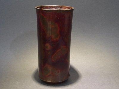 ☆清沁苑☆//清倉特價品出清//日本茶道具~銘:晴雲 柱形 紫斑銅花瓶 花器~d423