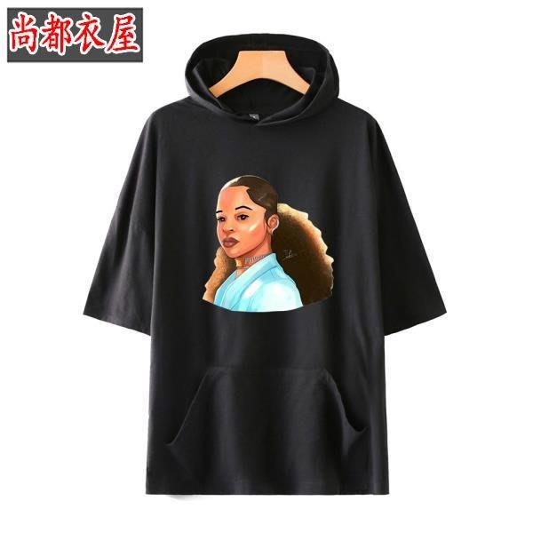 尚都衣屋 新款美國歌手ella mai休閑男女帶帽短袖T恤 Fortnite