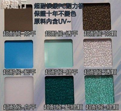 【保證10年不變色 三層UV保護層 超耐候級】高階 PC耐力板 防風 遮陽 PC板 綠色顆粒 2mm 每才49元~