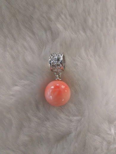 ~~『臻愛.珊瑚玉石小鋪』~~天然粉紅珊瑚(圓珠墜子)~~11mm~~時尚款~~附商品保証書.母親節送禮