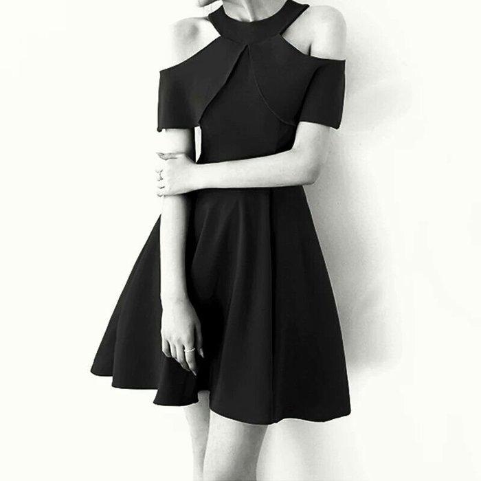 天使佳人婚紗禮服旗袍~~黑色小禮服露肩