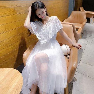 8097實拍夏季新款重工蕾絲花邊拼接網紗連衣裙兩件套