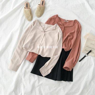 集美屋韓國女裝純色單排扣翻領襯衫春季2019新款女裝正韓百搭寬松不規則長袖上衣
