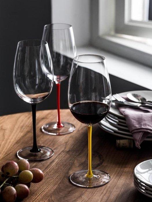 波爾多紅酒杯黑桿紅桿黃桿高腳杯家用葡萄酒水晶玻璃杯Y-優思思
