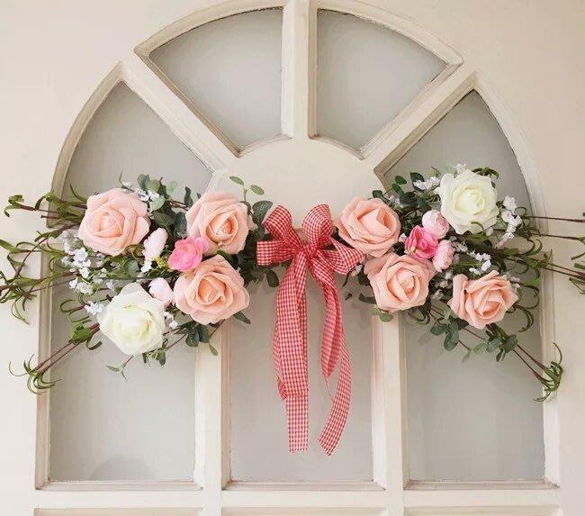 粉紅玫瑰精品屋~韓式高檔仿真門楣花 家居壁飾~