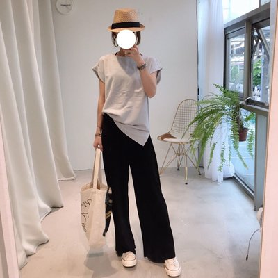 MAY_5253 韓 藍灰質感麻料折袖衫#041510-101